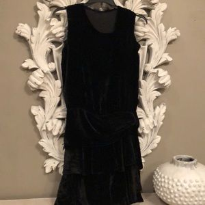 Authentic 1920's Black Velvet Tiered Flapper Dress